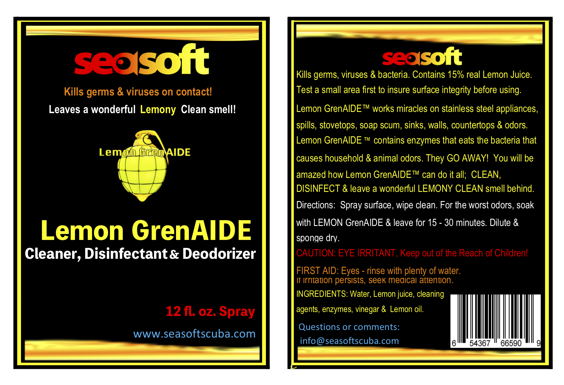 SEASOFT's Lemon GrenAIDE™ 24 oz. Cleaner, STINK Killer, and Deodorizer SPRAY for stinky gear, countertops, most surfaces.