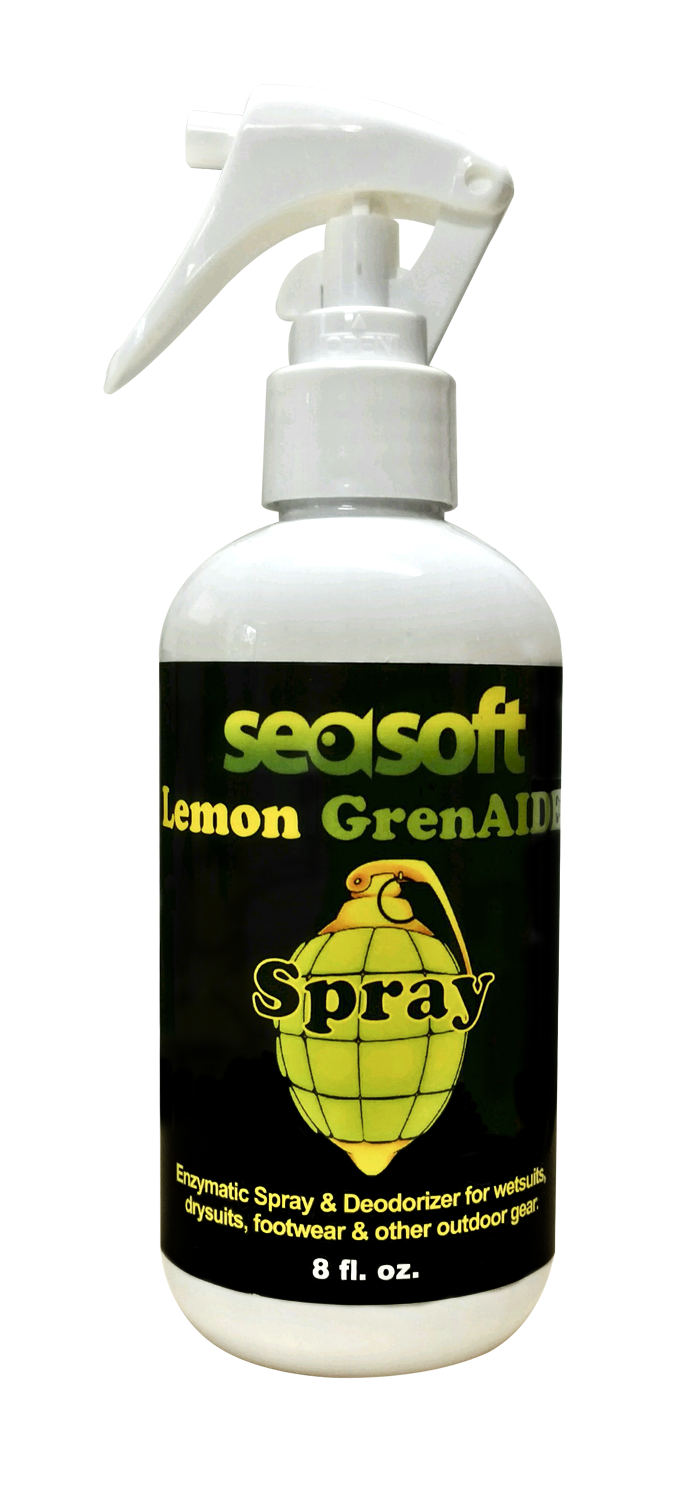 SEASOFT's Lemon GrenAIDE™ 8 oz. Enzymatic SPRAY for drysuits, wetsuits, BCs & other personal gear!